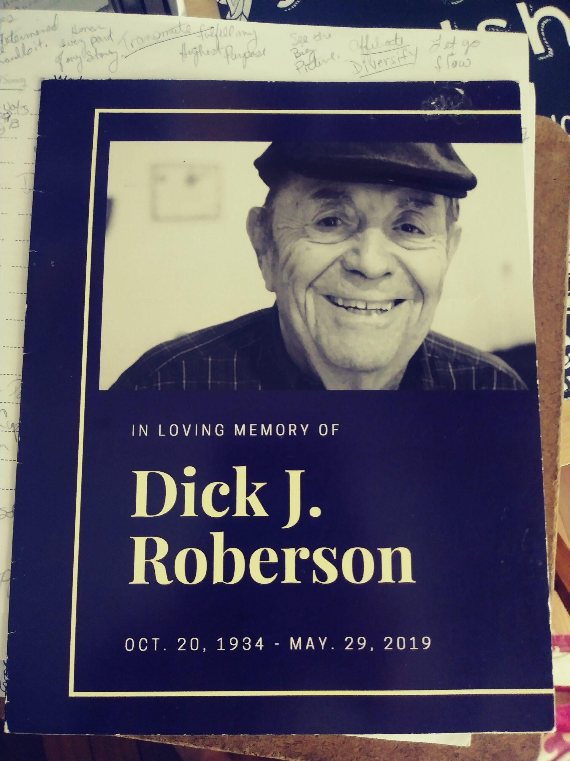 Memorial card for Dickie J. Roberson October 1934 - 2019
